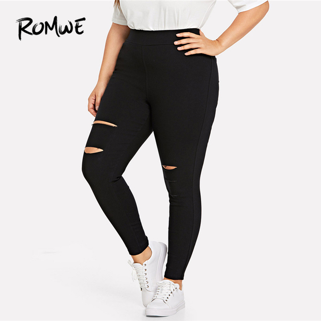 32fb84aeb99 ROMWE Plus Size Cut Out Pocket Black Pants Female Skinny Weekend Casual  Plain Long Trousers Spring