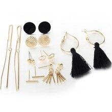 8 Pairs/set Korean Fashion Tassel Round Stud Earrings Set for Women Trendy Mixed Black Statement  Long Sets