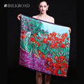 "Mohekann100% Satin Silk  Women 34"" Square Scarf Hand Rolled Edges Flower Scarves & Wraps Fashion Shawl 3 Colors"