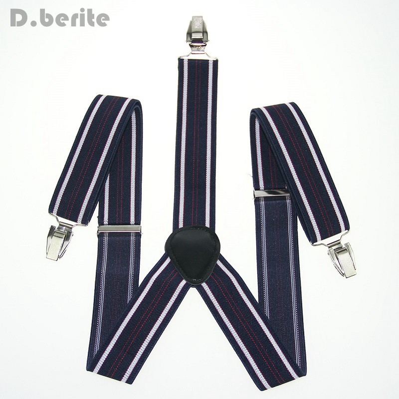 Navy White Red Striped Braces Men's Adjustable Clip-on Suspenders Braces Unisex Adult Gallus For Wedding Party BD906