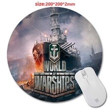 DIY 200 * 200 * 2 mm World of Warships 3D print Round Rubber Soft Gaming Mouse pad lasting computers laptops mouse pad As Gift