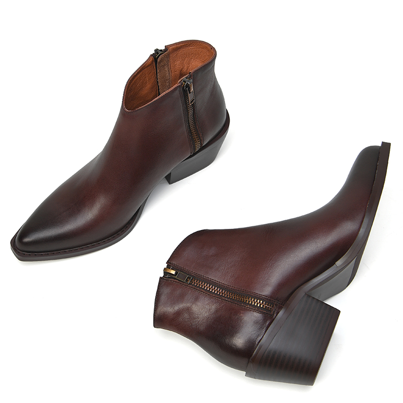 Модные черные женские сапоги из натуральной кожи с молнией спереди и круглым носком на высоком квадратном каблуке зимние высокие сапоги до ... - 5