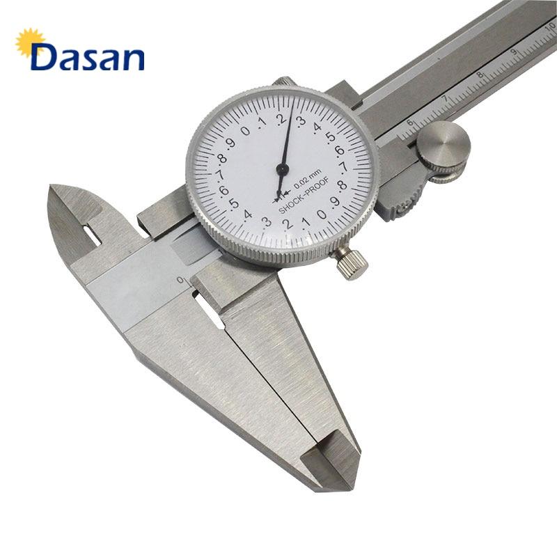1pc Dial Caliper 0-150mm Stainless Steel Mechanical Calliper Precision 0-200mm 6in 8in Shock proof Metal Measure Gauge Tool