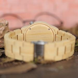 Image 5 - BOBO BIRD lovers drewniany zegarek całkowicie bambusowy zielony zegarek kwarcowy dla par w bambusowe pudełko na prezent