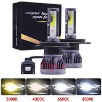 Nuevo Mini H4 H7 LED linterna del coche Kit 6000K 3000K 8000K 72W 12000LM H1 H11 9005 HB3 9006 HB4 H8 6000K bombillas accesorios de coche