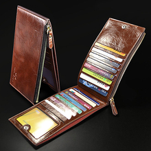 Men Multislot Wallet Vertical Money Clip Zipper Bifold Purse Casual