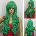 heat resistant Party hair >>>New Long Wavy Onion Green Cosplay women Wig