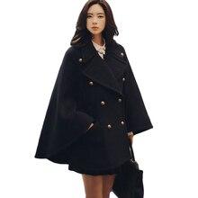 Женское шерстяное пальто-накидка с отложным воротником, классический двубортный пончо, куртка, Mujer, теплый плащ, Тренч, пальто с длинным рукавом, XH599