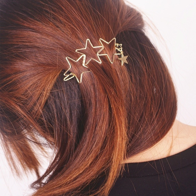 HTB1cC5YMXXXXXXtXVXXq6xXFXXXO Classy Gold Plated Five Stars Tassel Hairpin Accessories For Women