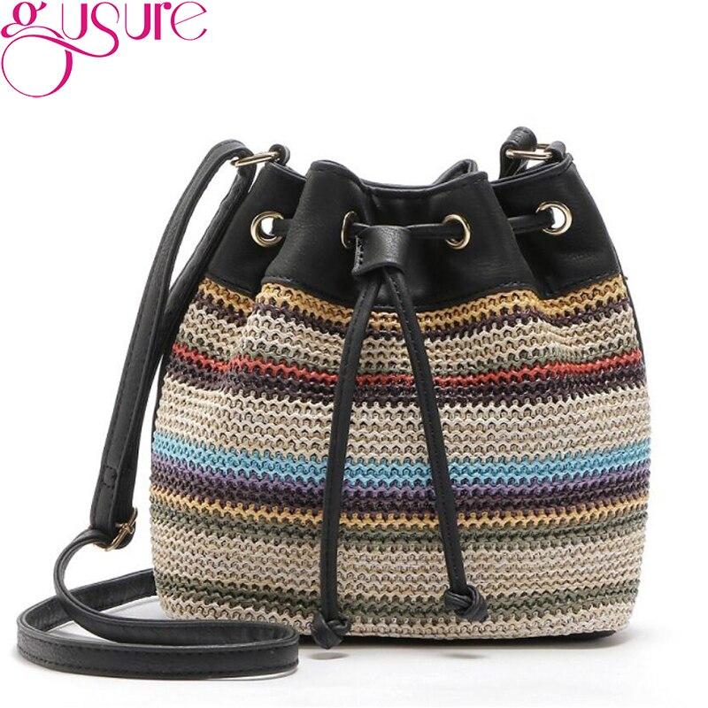 Handbags Style Drawstring Bag PU Canvas Shoulder Bag Rope Stripe Straw Bucket Bag Original Design Tote Sa