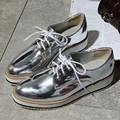 New women wings vintage Oxford Lace Up black sliver white grey Metallic Striped platform Vintage oxford flat women's shoes US 9