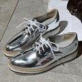 Nuevas mujeres alas vendimia Oxford Lace Up negro blanco de la astilla gris Metálico plataforma Rayas oxford zapatos de las mujeres planas de La Vendimia EE. UU. 9