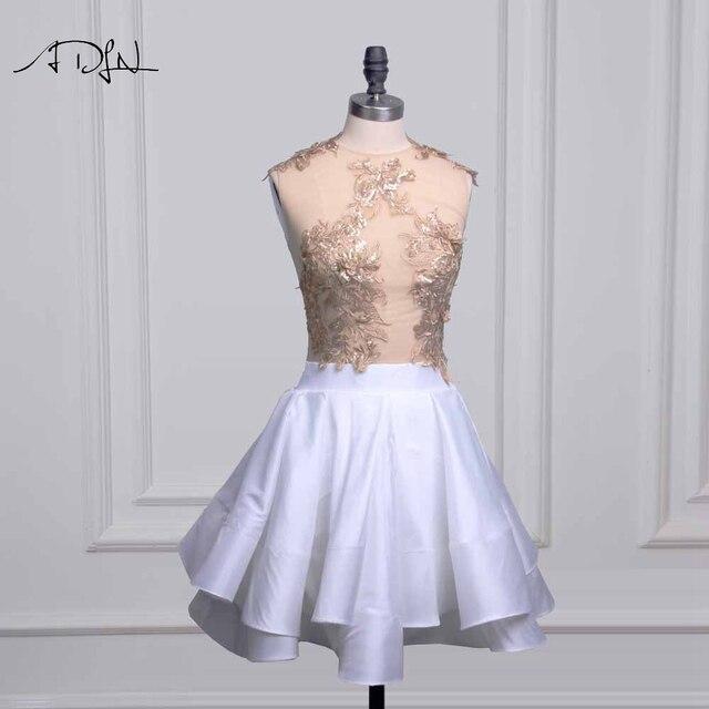 45df1e3307e ADLN Sexy Illusion corsage petite robe blanche Mini robe de Cocktail o-cou  une ligne