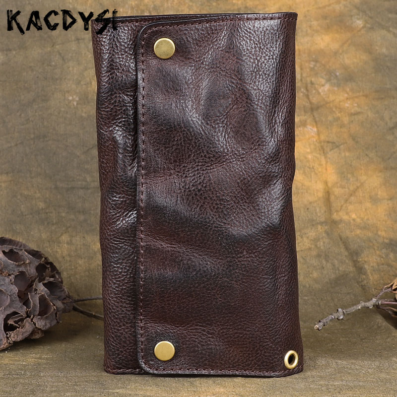 Genuine Cow Leather Long Mens Wallet Retro Brush Color Multifunction Trifold Purse Original Handmade Wallet Leather
