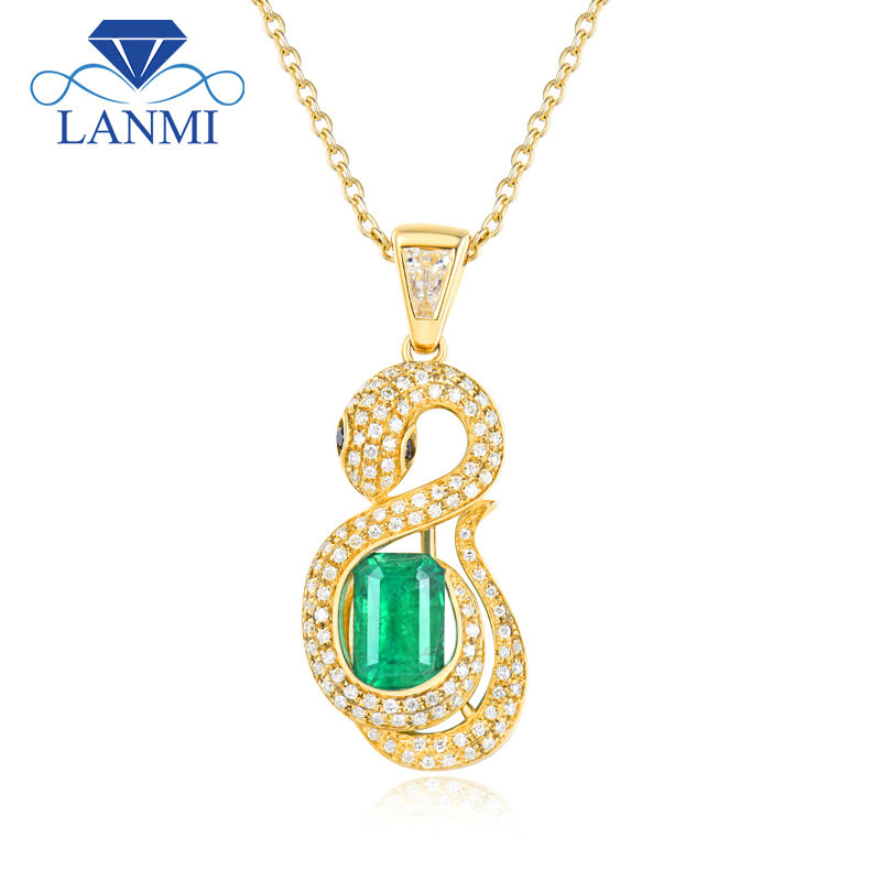 LANMI Snak Shape Fine Jewelry Solid 18Kt/AU750 Yellow Gold Diamonds Natural Emerald Pendant for Women Genuine Gemstone Jewelry solid 18k yellow gold green emerald wedding diamonds rings good quality genuine gemstone fine jewelry for women promised gift