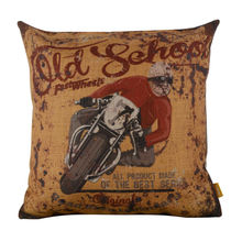 "LINKWELL 18x18"" Vintage Rusted Yellow Motorcycle Racing Sports Athletic Burlap Cushion Cover Throw Pillowcase For Men Man Cave"