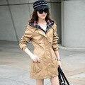 Пальто женщин весной 2016 свободного покроя мода длинный участок с капюшоном ветровка Большой размер 3xl RM-124