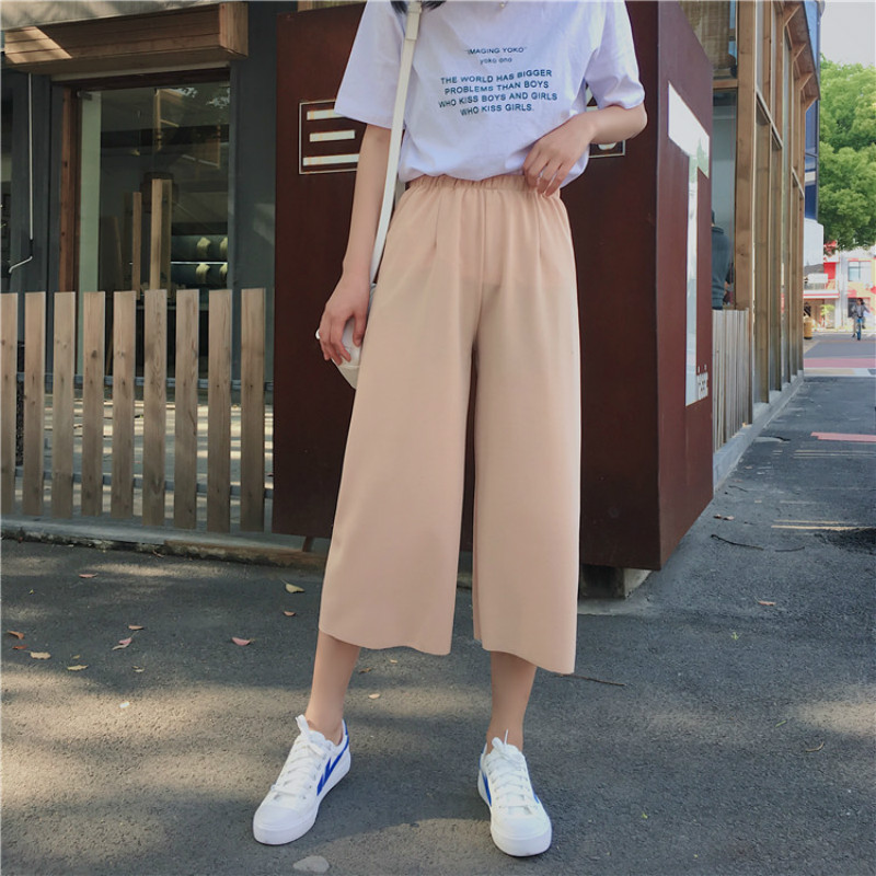 Chiffon   Pants   Summer Women   Pants   High Waist Wide Leg Ankle-Length   Pants   Women Office Lady Loose Stretch   Pants     Capris