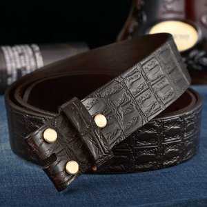 Image 4 - Genuine Leather Belts Without Buckle for Men Brand Strap Vintage Jeans Cowskin Strap With One Layer Leather 3.8cm Wide