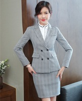 Fashion Plaid 2018 Fall Winter Formal Blazers With Jackets And Skirt For Ladies Office Work Wear Uniforms Designs Business Suits