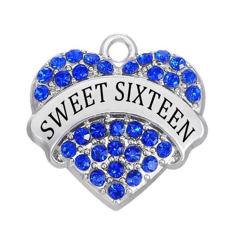 כפול 50 יח'\חבילה האף תכשיטי ביצוע Diy רודיום ציפוי נקה Sweet Sixteen קריסטל פייב לב קסם