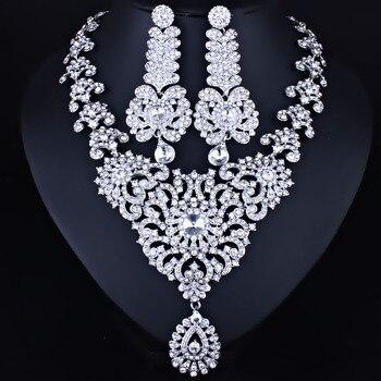 FARLENA Bijoux En Cristal Clair Strass Lustre Collier et Boucles D'oreilles Romantique Marocain style De Mariée Bijoux ensembles