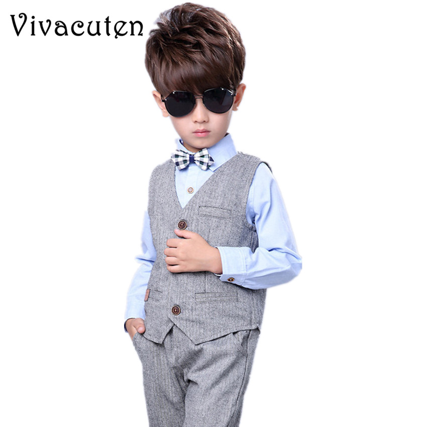 New Children Suit Baby Boys Suits Kids Handsome Vest Shirt Pants Formal Birthday Dress Suit Gentleman Weddings Clothes Set F055 boys clothes kids gentelman formal vest shirt pants terno texdo children costume wedding suit handsome three pieces set stylish