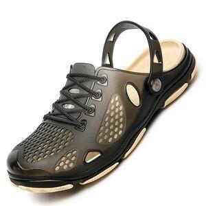 2019 جديد الصيف الرجال صنادل شاطئ أحذية رجل الجوف أحذية مفتوحة في الهواء الطلق الرجال هلام الأحذية شبكة المضاء حذاء كاجوال أزياء