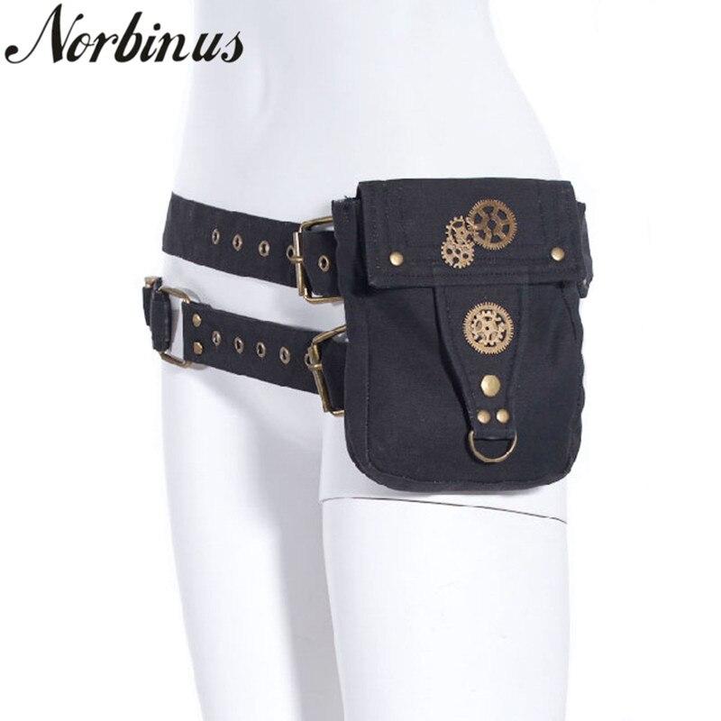 Norbinus Steampunk Femmes Toile Taille Sac Goth Étui Sac Moto Cuisse Poche Ceinture Sac Pack Hommes Épaule Petit Téléphone Poche