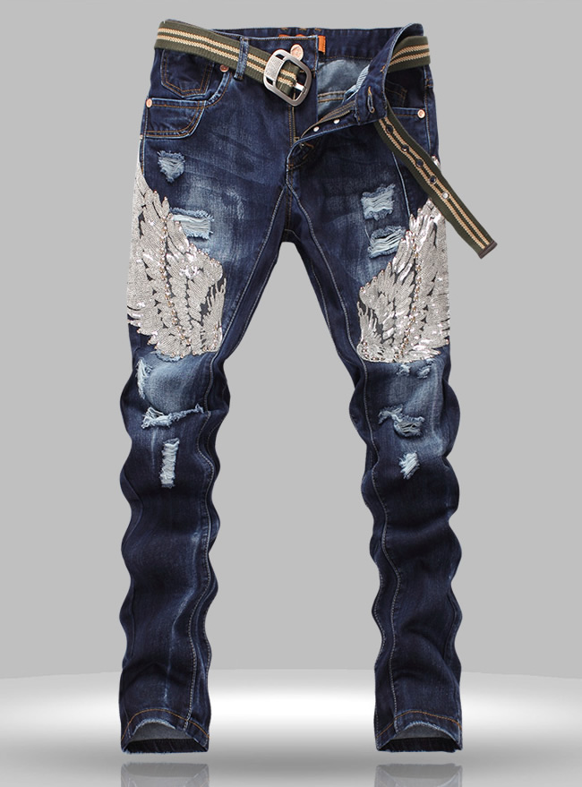 Hot sale  New designer men Sequins jean fashion cutout Straight trousers hot sale halter beading sequins short homecoming dress