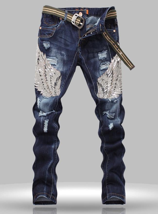 Hot sale  New designer men Sequins jean fashion cutout Straight trousers hot sale new arrival men cutout jeans fashion embroidery pencil trousers