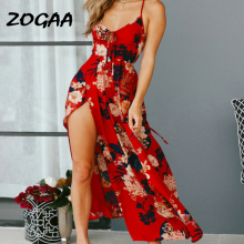 ZOGAA Women Floral Print Summer Spaghetti Strap Dresses Sexy Red V-Neck Backless Bandage Evening Party Beach Vestidos De festa