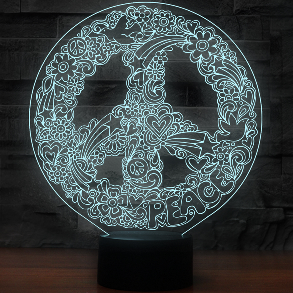 Innovative 3D Art Hippie Peace Sign Shape Night Lights For 7 Colors Changing Led Lighting Creative Office Decor USB Table Lamp 3d can canada make peace