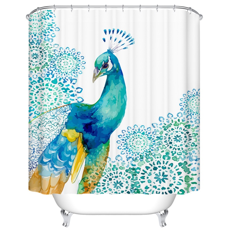 Shower Curtain Peacock Waterproof Polyester Bath Curtain Bathroom  Accessories Custom 180x180cm Curtains Home Decoration(China