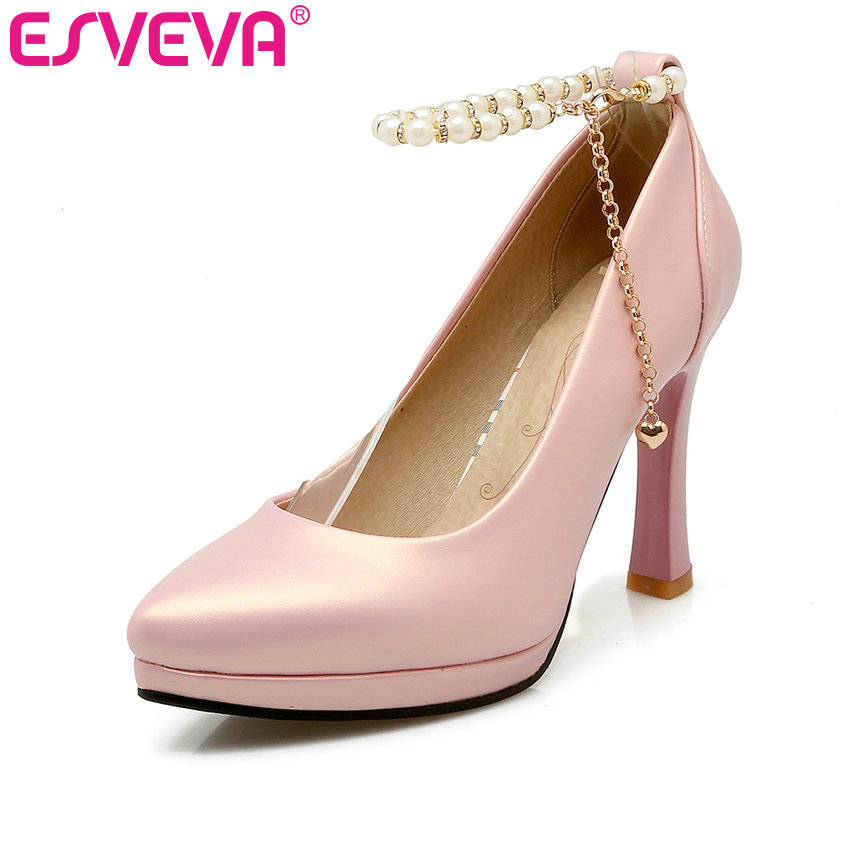 ESVEVA 2017 Wedding Women Pumps Buckle Strap Sexy Party Shoes Women Pointed Toe PU Spring Thin High Heel Pumps Big Size 34-43 esveva sexy flock thin high heel women pumps summer party pointed toe woman pumps ankle strap ladies wedding shoe size 34 43
