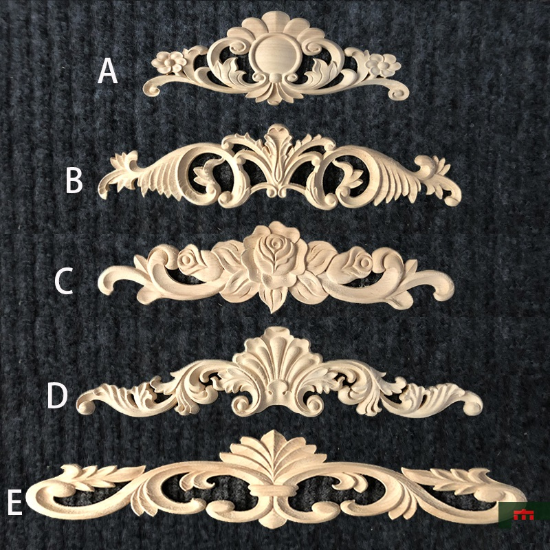 4Pcs/Lot EUROPEAN FURNITURE ARCHITECTURAL RUBBER WOOD APPLIQUE ONLAY APPLIQUES UNPAINTED UNFINISHED