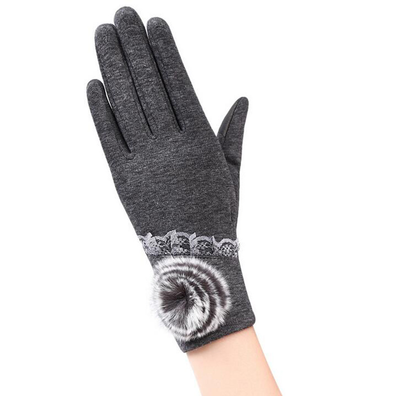 Female Winter Sports Fitness Warm Gloves Fashion Women Wrist Hairball Plus Cashmere Cotton Full Finger Touch Screen Gloves 13E