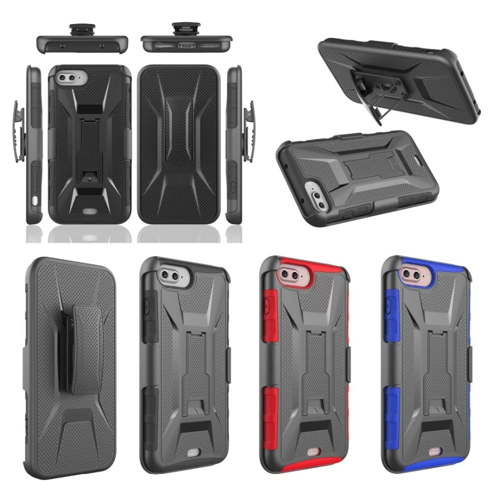 For iphone 8 Case 3 in 1 Armor Belt Clip Stand Military Armor Hard Cover For iphone 5/5S/SE/6/7 Plus Samsung Galaxy S/Note5 6 ...