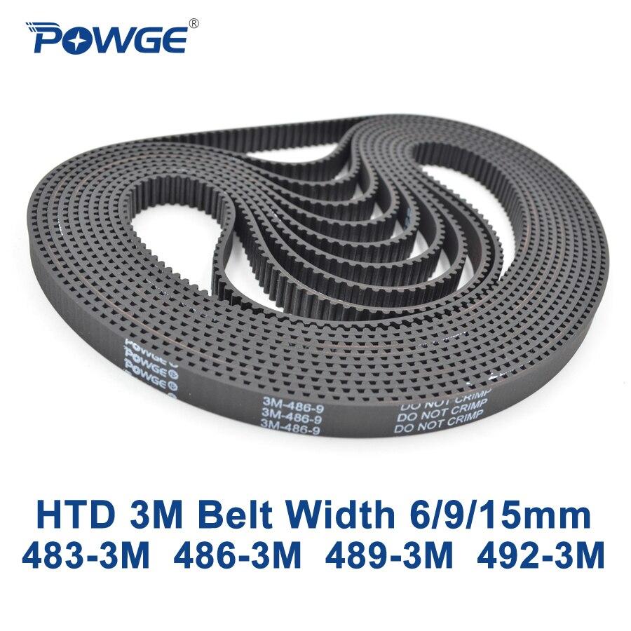 POWGE HTD 3M Timing belt C= 483 486 489 492 width 6/9/15mm Teeth 161 162 163 164 HTD3M synchronous 483 3M 486 3M 489 3M 492 3M|3m timing belt|htd 3m|timing belt - title=