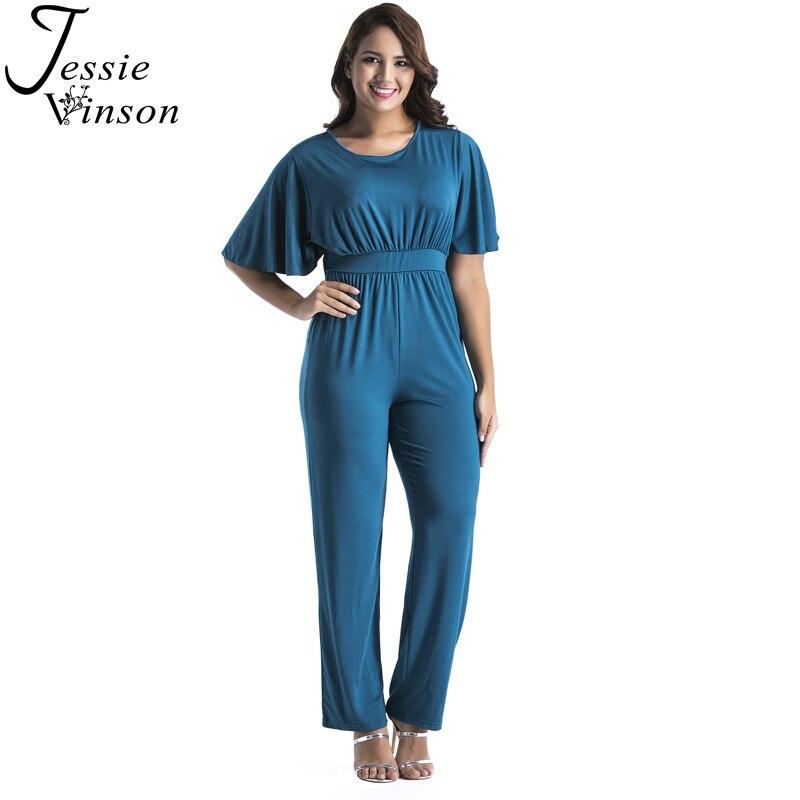Jessie Vinson Plus Size O-neck Short Sleeve Tunic Wide Leg Jumpsuit Loose Candy Color Rompers Women Long Pants Playsuit Overalls