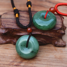 лучшая цена New Natural Green Hetian Stone Pendant Carved Peace Buckle Women Men's Nephrite Jades Jewelry Pendants With Rope, Free Shipping