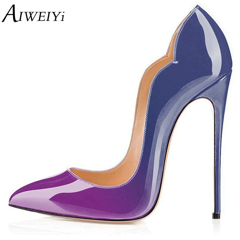 AIWEIYi Elegant Woman Pumps Pointy Toe Stiletto High Heel Women 2018 Patent Leather Lady Stiletto Heels Dress Pumps Basic Shoes aiweiyi 2018 summer women shoes pointed toe stiletto high heel pumps dress shoes high heels gold transparent pvc shoes woman