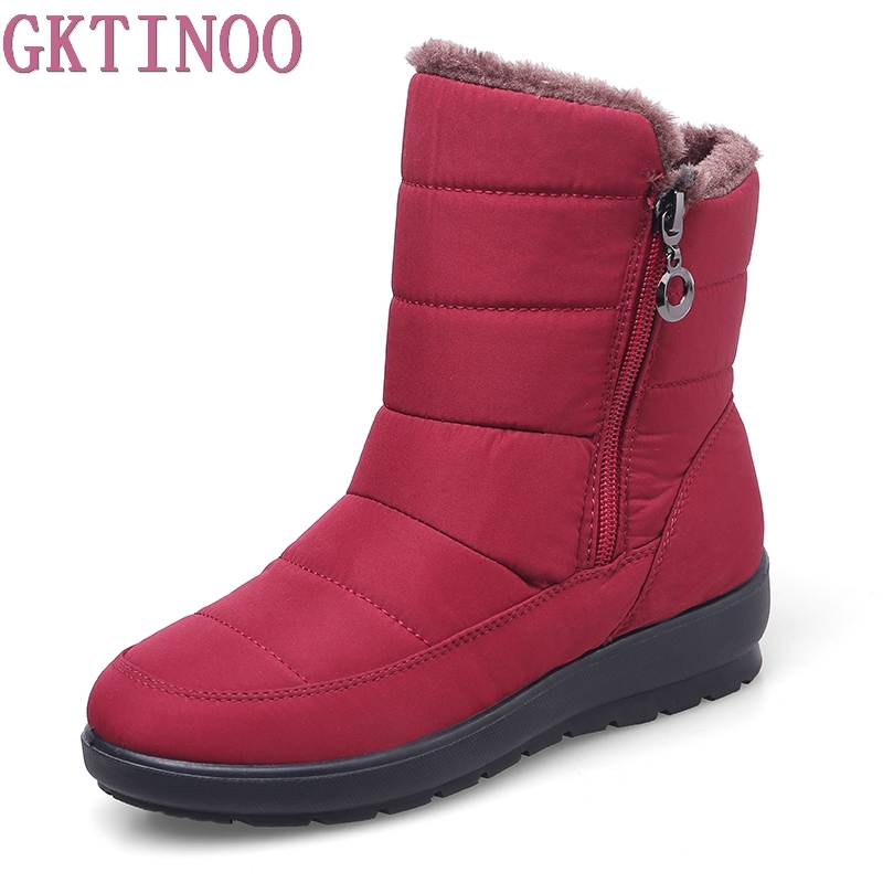 Snow Boots Winter Warm Non-slip Waterproof Women Boots Mother Shoes Casual Winter Autumn Boots Female Shoes Plus Size 35-42 2017 women winter boots shoes snow boots blue warm snow boots down plus size 35 42 non slip platform winter boots shoes xz 29