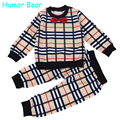 Humor bear bebê meninos roupa do bebê conjuntos de roupas meninos moda xadrez gravata borboleta estilo de manga comprida + calças ternos