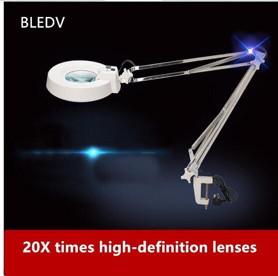 Schreibtischlampen 220 V 10x Clip Große Lupe Lampe Lupe Weiß/blau Optisches Glas Klappständer Für Pcb Präzisionsteile Inspektion