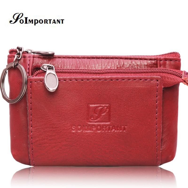 Luxury Genuine Leather Women Wallets Coin Purse Mini Wallet Female Card Lady Boho Magic Walet Zipper Money Bags With Key Ring