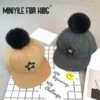 Children S Hat Monochrome Five Star Label Hair Ball Flat Along The Cap Boys And Girls
