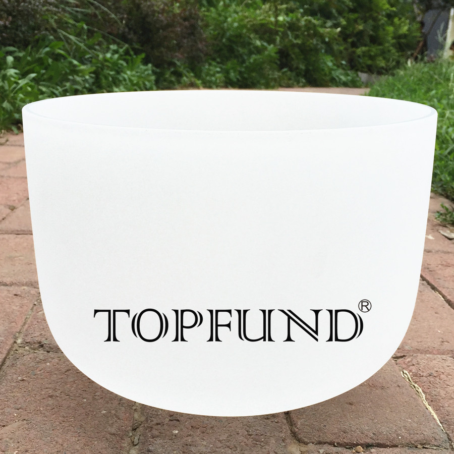 TOPFUND Frosted Quartz Crystal Singing  Bowl A Note Third eye Chakra 10 With Free Mallet and O-Ring topfund hollow handle clear a third eye chakra indigo color crystal singing bowl 6