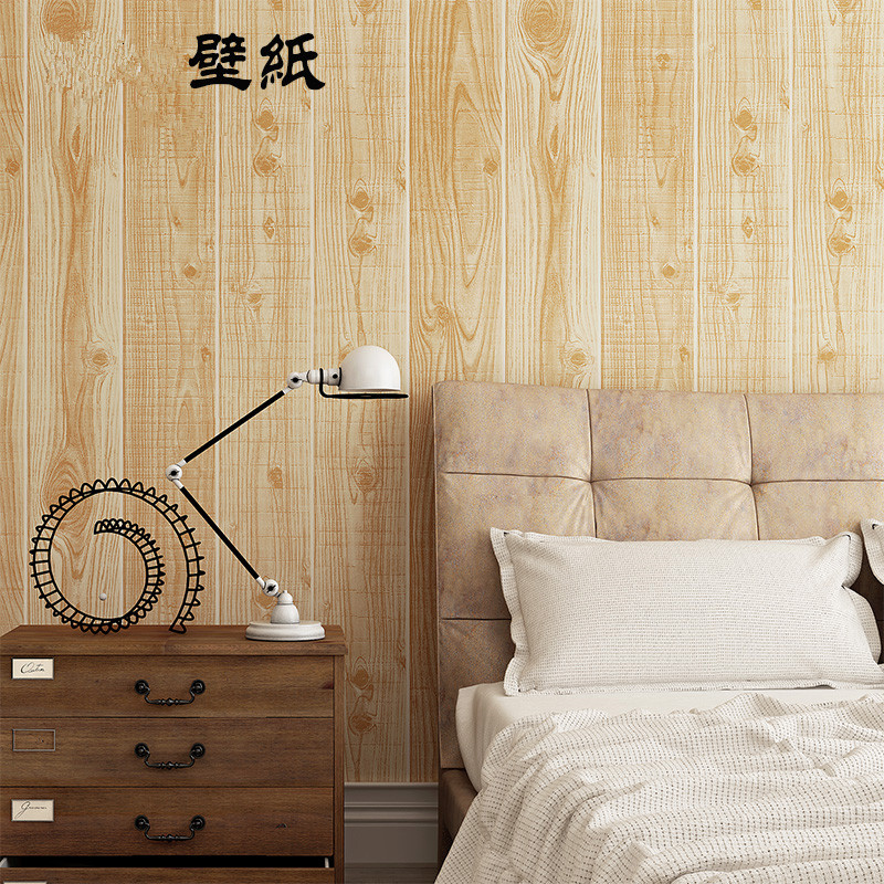 New vintage ostalgic 3D simulation wood plank grain wall papers Chinese style restaurant teahouse box TV back decor