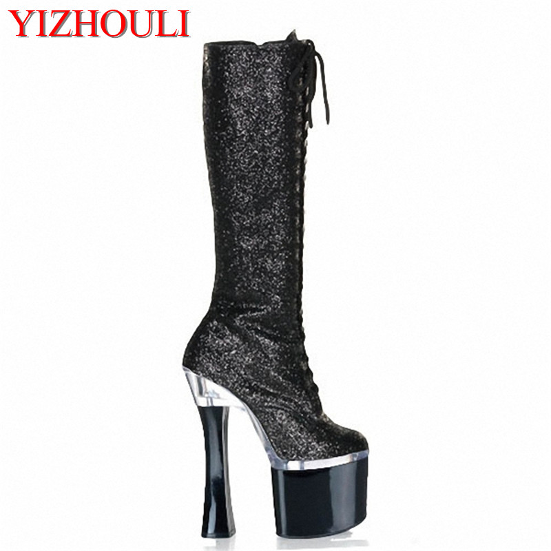 18cm Fashion female knight platform heels knee high boots in the winter shoes PU boots nightclub high-heeled shoes of woman недорго, оригинальная цена